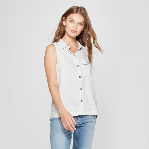Women s Sleeveless Striped Button-Down Shirt - Universal Thread™ Gray f837ae813