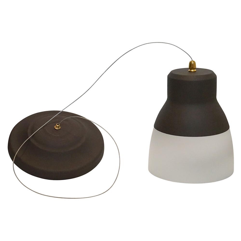 Image of Battery-Operated Bronze Glass Pendant Light with remote