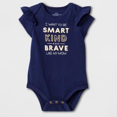 Baby Girls' Smart and Brave Bodysuit - Cat & Jack™ Nightfall Blue 3-6M