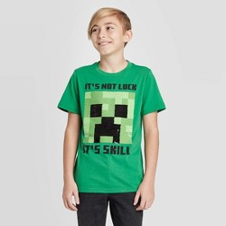 Boys' Minecraft Creeper Thrill Skill flip sequin St. Patrick's Day T-Shirt - Green
