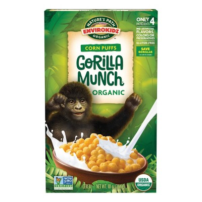 Nature's Path Envirokidz Corn Puffs Gorilla Munch Breakfast Cereal - 10oz