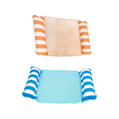 AquaLeisure 4-in-1 Monterey Fabric Hammock Swimming Multi Purpose Inflatable Pool Float, Orange/White Stripe and Blue (2 Pack)