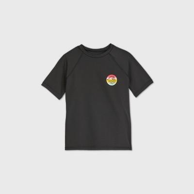 Girls' Short Sleeve Raglan Wave Rash Guard Swim Shirt - art class™ Black