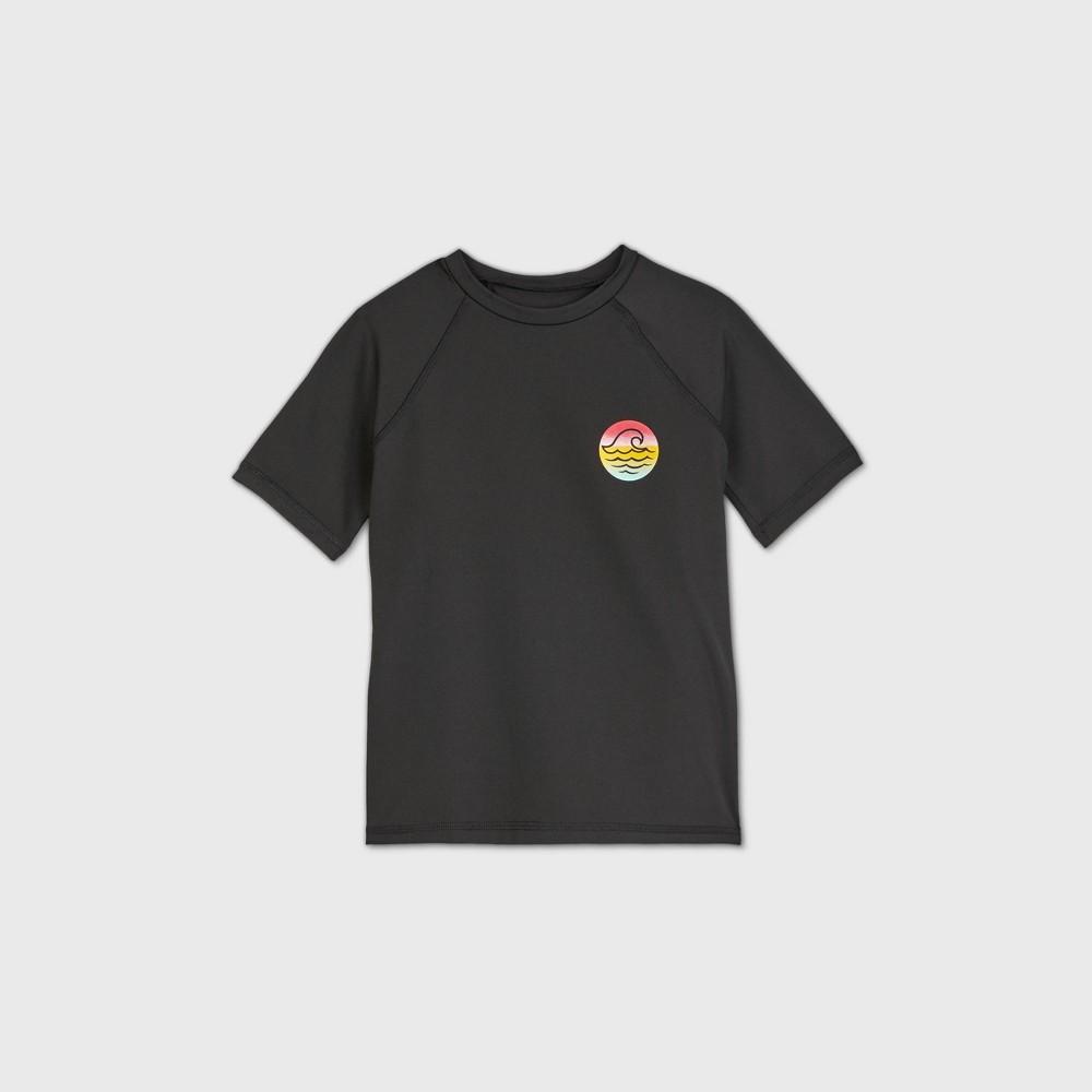 Girls 39 Short Sleeve Raglan Wave Rash Guard Swim Shirt Art Class 8482 Black Xs