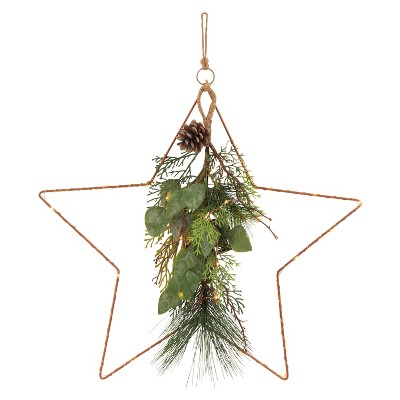 18  Prelit Christmas Wire Star with Mix Greenery Dew Drop LED Lights - Wondershop™