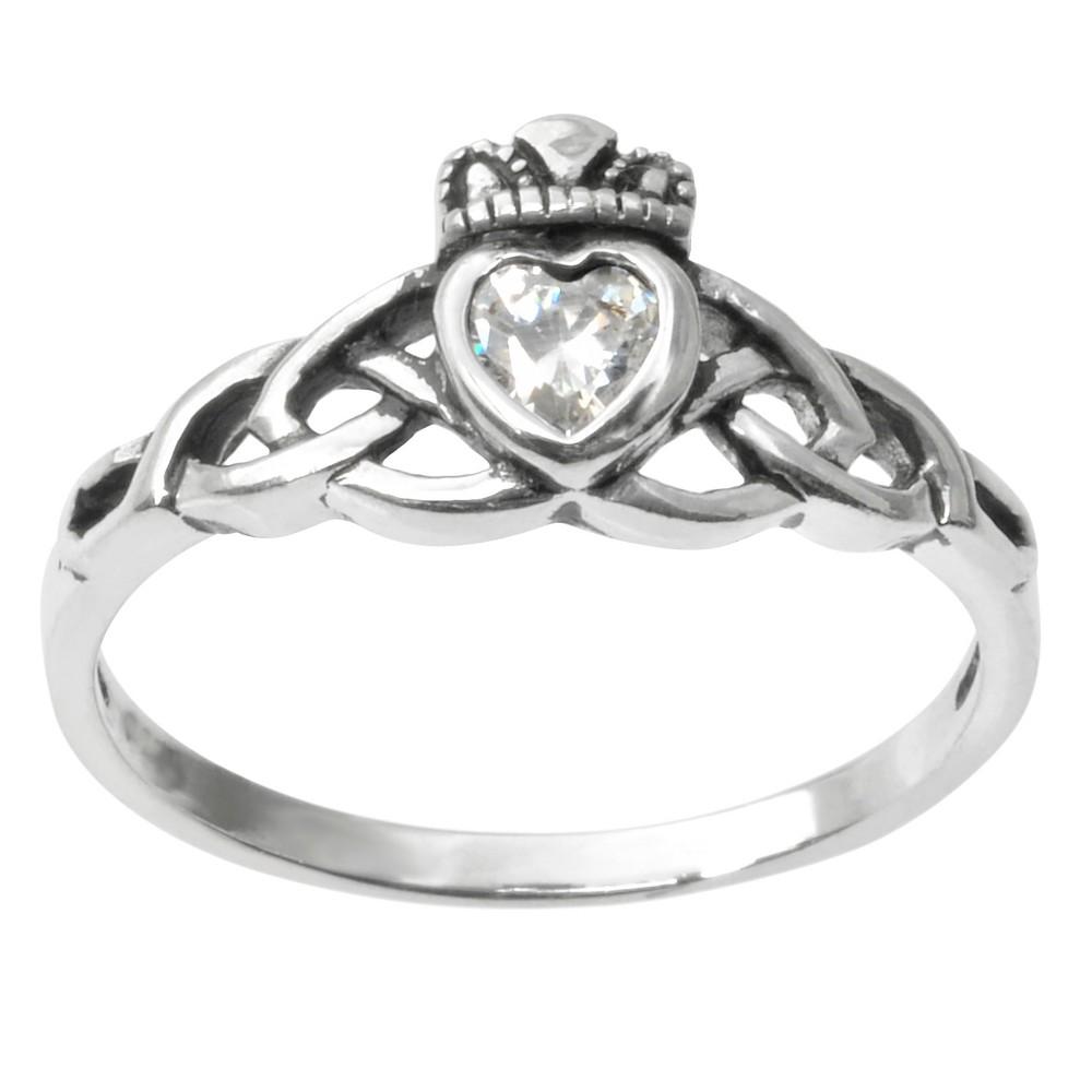 1/5 CT. T.W. Heart-cut CZ Bezel Set Celtic Ring in Sterling Silver - White, 5, Girl's