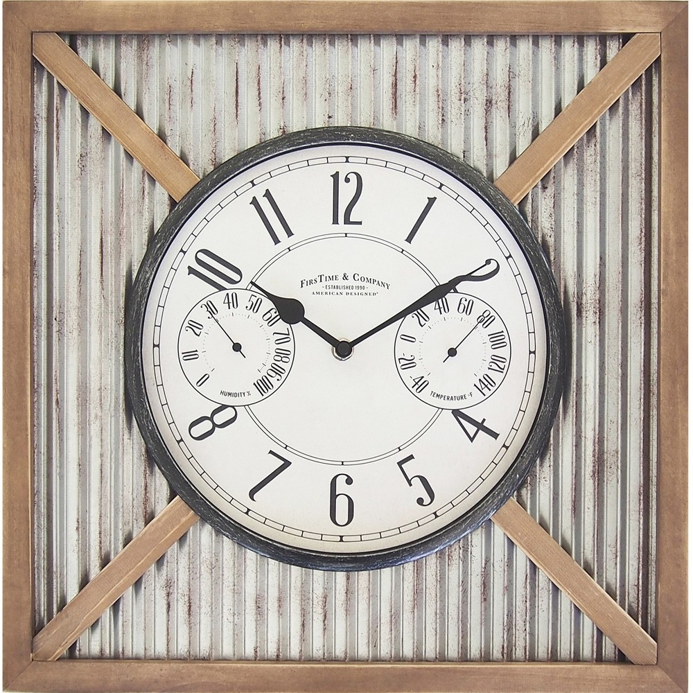 Image of FirsTime 16 Wood Barn Outdoor Wall Clock Desert Tan