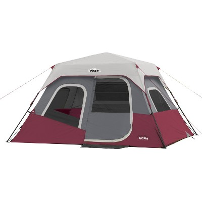 CORE Instant Cabin 11 x 9 Foot 6 Person Cabin Tent with Air Vents and Loft, Red