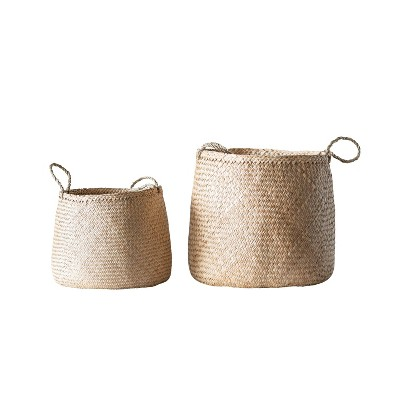Set of 2 Decorative Woven Seagrass Baskets with Handles Beige - 3R Studios