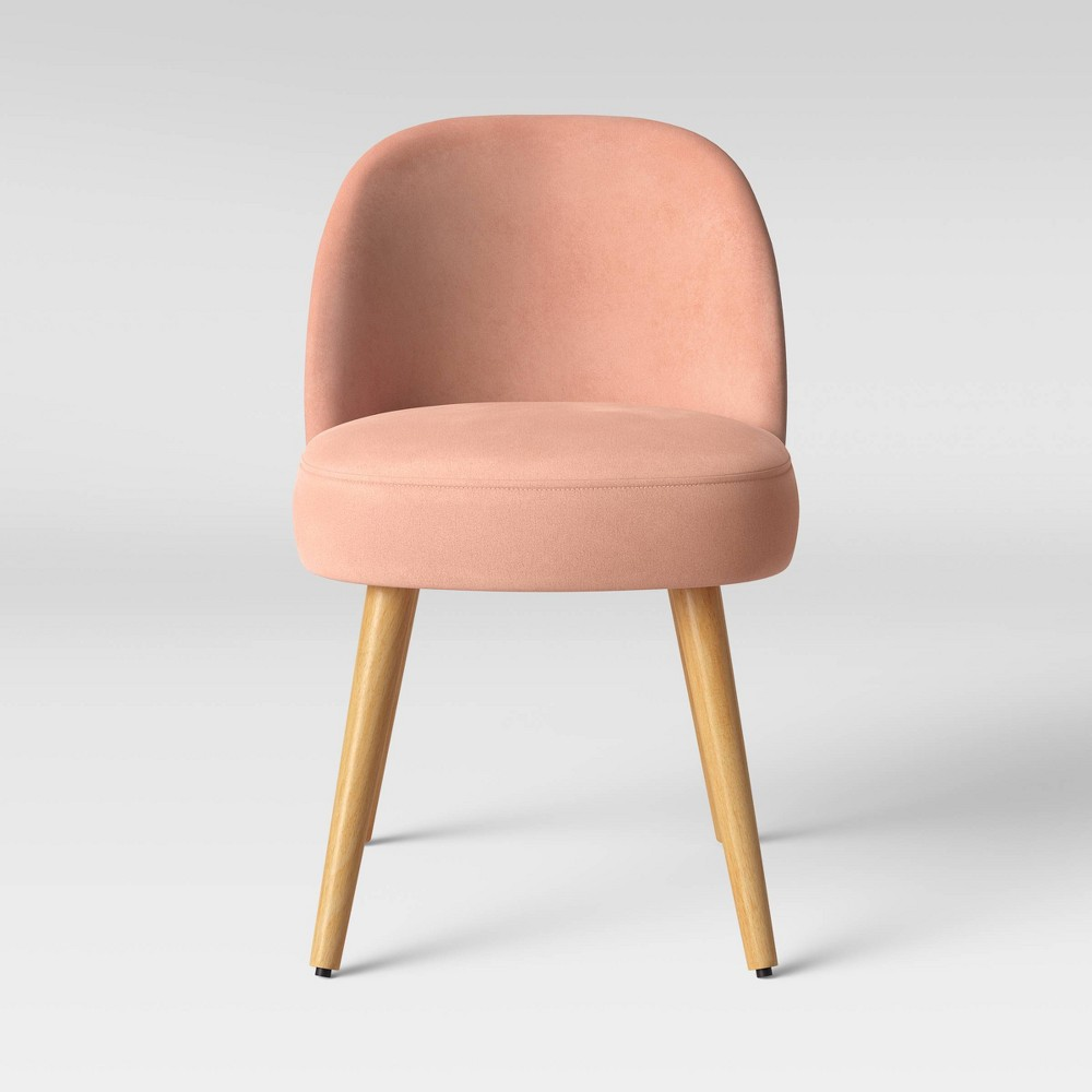 Stene Round Upholstered Dining Chair Velvet Blush - Project 62