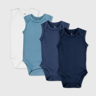 Honest Baby Boys' 4pk Organic Cotton Sleeveless Bodysuit - Blue 0-3M