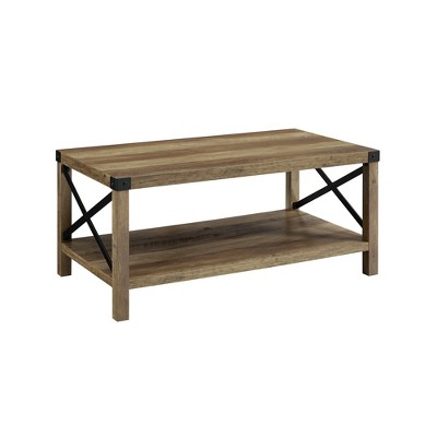 40  Metal X Coffee Table Rustic Oak/Black - Saracina Home
