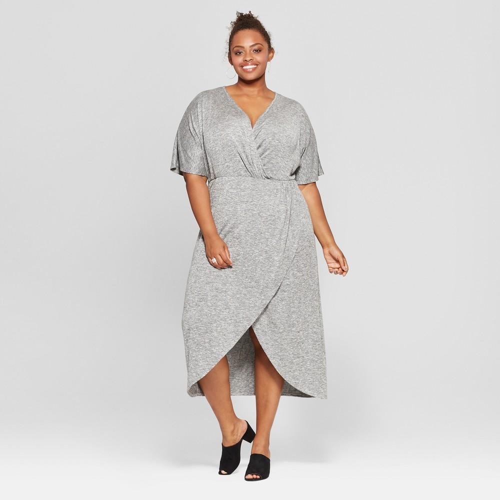 Women's Plus Size Twist Front Midi Dress - Ava & Viv Heather Gray X