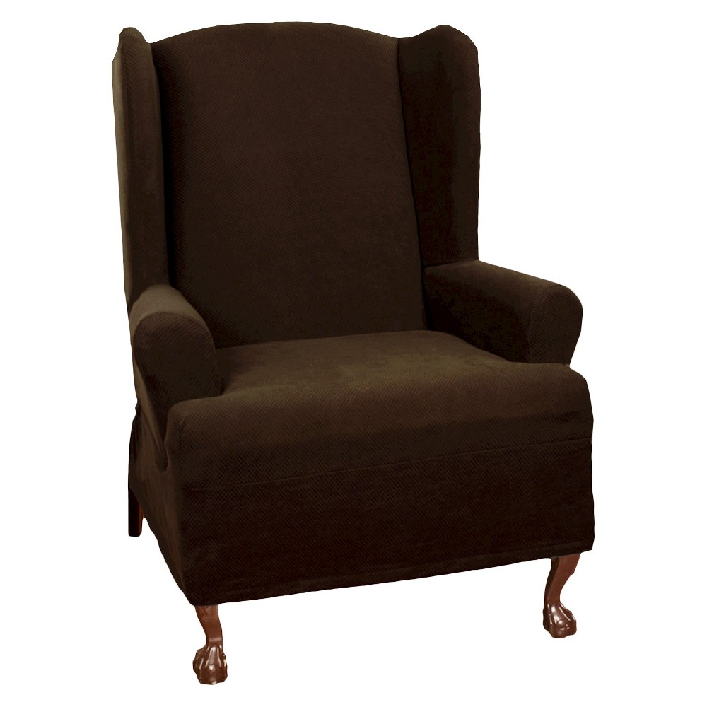 Image of Chocolate (Brown) Stretch Pixel Wingchair Slipcover - Maytex
