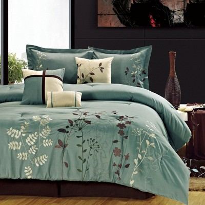 Chic Home Embroidered Bliss Garden MicroFiber Comforter Bed In A Bag Sheet Set, 12 Piece - Sage