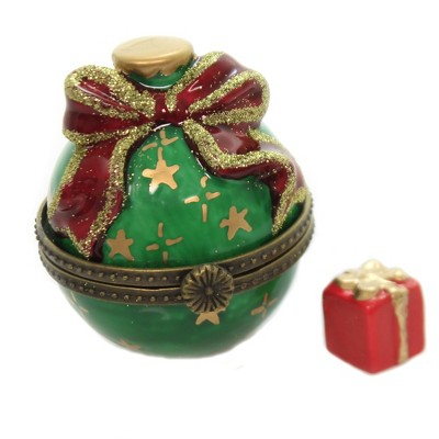 "Hinged Trinket Box 2.25"" Christmas Ball Present Box  -  Decorative Figurines"