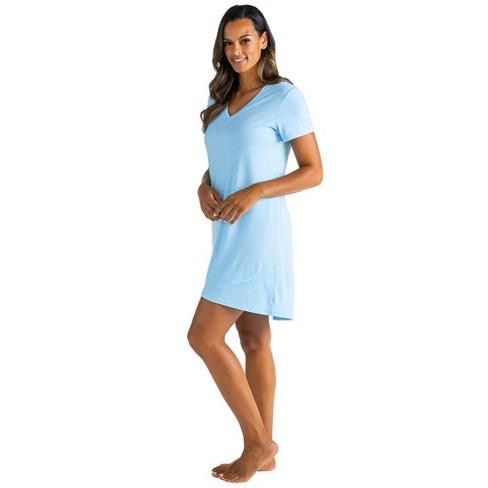 "Softies Women's 36"" V-Neck Short Sleeve Sleep Shirt with Tulip Hem - image 1 of 4"