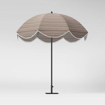 7.5' Round Scalloped Pom Pom Patio Umbrella DuraSeason Fabric™ Multi-Stripe - Opalhouse™