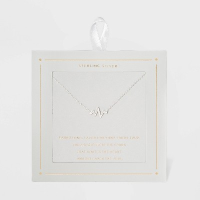 Sterling Silver Heart Beat Necklace - Silver
