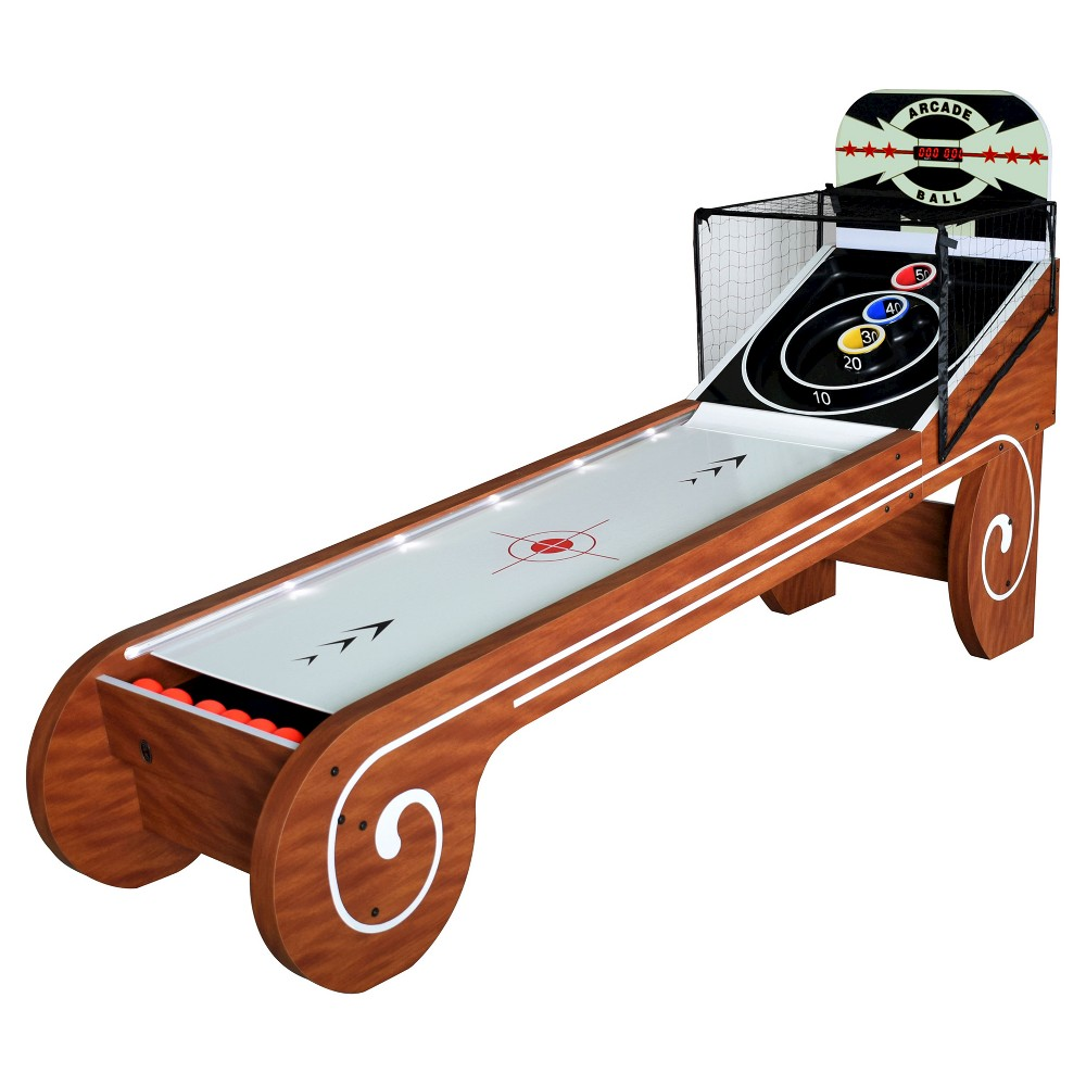 Hathaway Boardwalk 8 Feet Arcade Ball Table -Family Game Rooms with Led Track Lighting and Scratch-Resistant Playfield, Multi-Colored