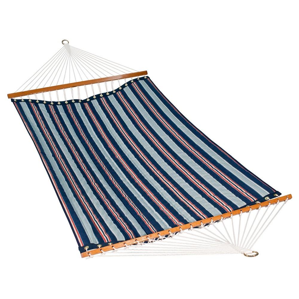 Image of Algoma 11 Foot Polyester Fabric Hammock - Kingston Stripe Arbor/Arbor Blue Solid