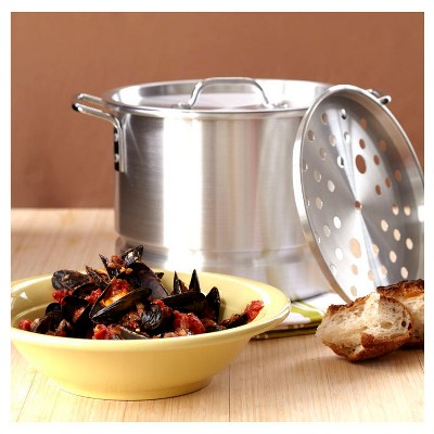 Imusa 20qt Tamale/Seafood Steamer with Rack & Lid, Silver