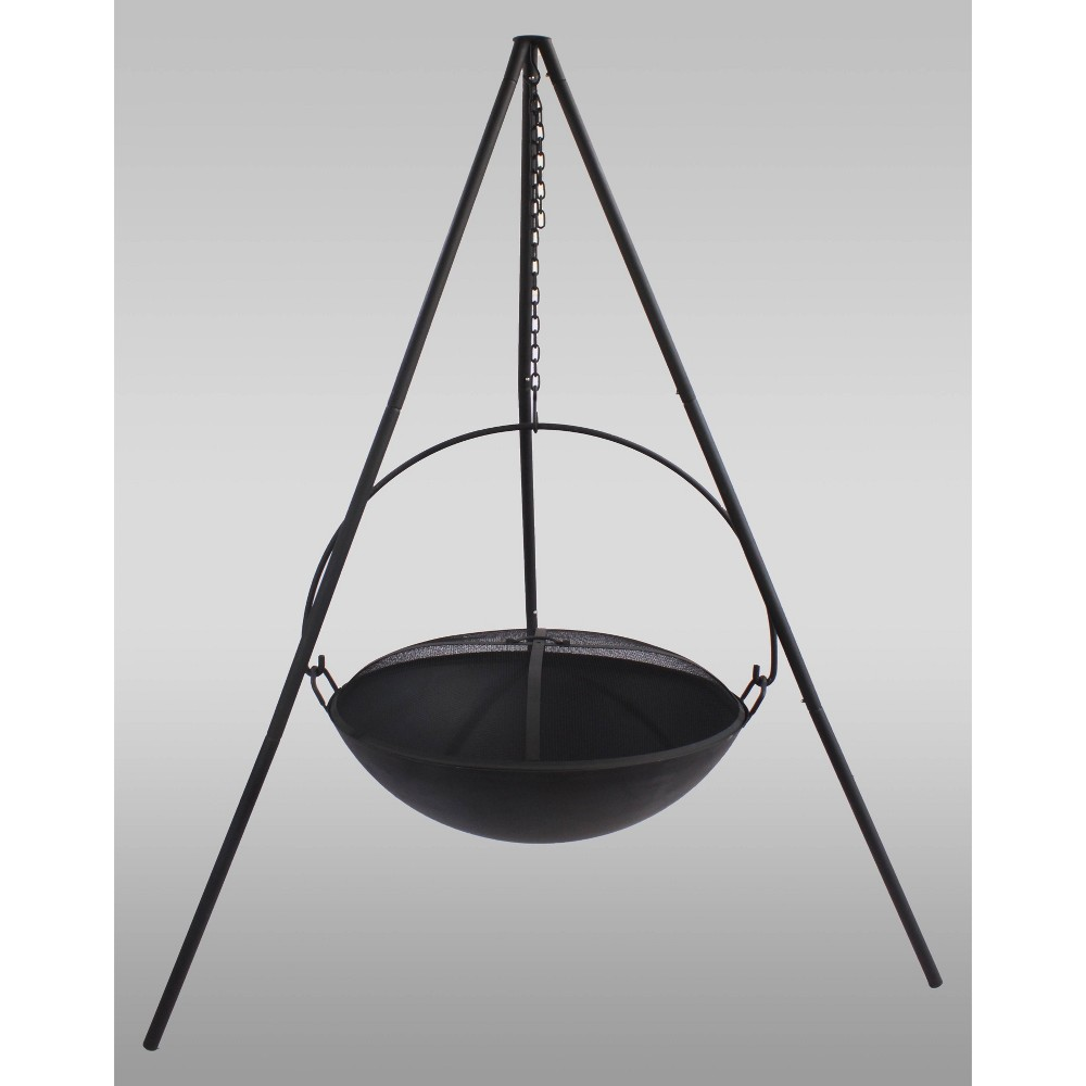 Image of Hanging Wood Burning Fire Bowl - Black - Catalina Creations