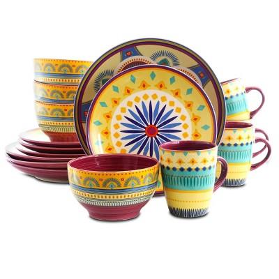 16pc Stoneware Summer Terrace Dinnerware Set - Elama