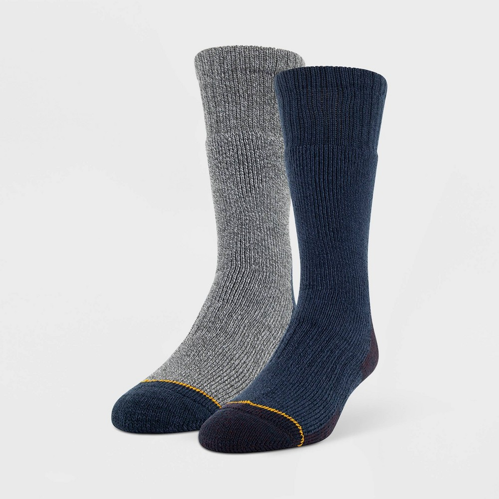Image of Signature Gold by Goldtoe Men's 2pk Recycled Heavy Weight Crew Socks - Navy 6-12, Blue