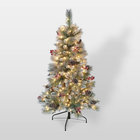 How Many Lights Per Foot Of Christmas Tree.4 5ft Pre Lit Glitter Slim Pine Trees Artificial Christmas Tree Puleo