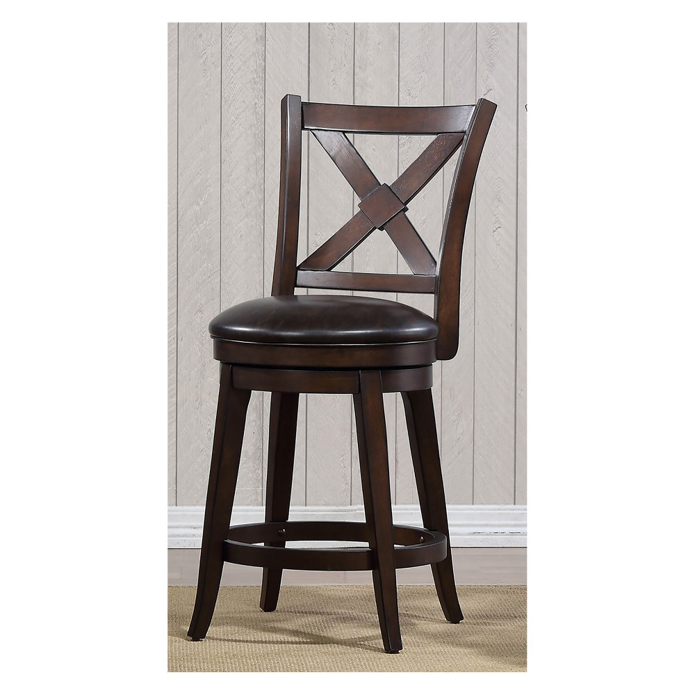 "Image of ""40"""" Bailey Counter Height Swivel Stool Walnut Brown - Foremost"""