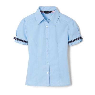 French Toast Girls' Uniform Short Sleeve Blouse - Light Blue