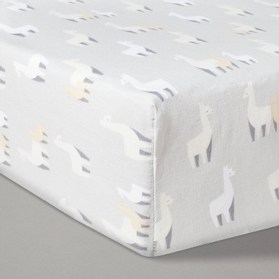 Fitted Crib Sheet Llamas - Cloud Island™ Gray/White