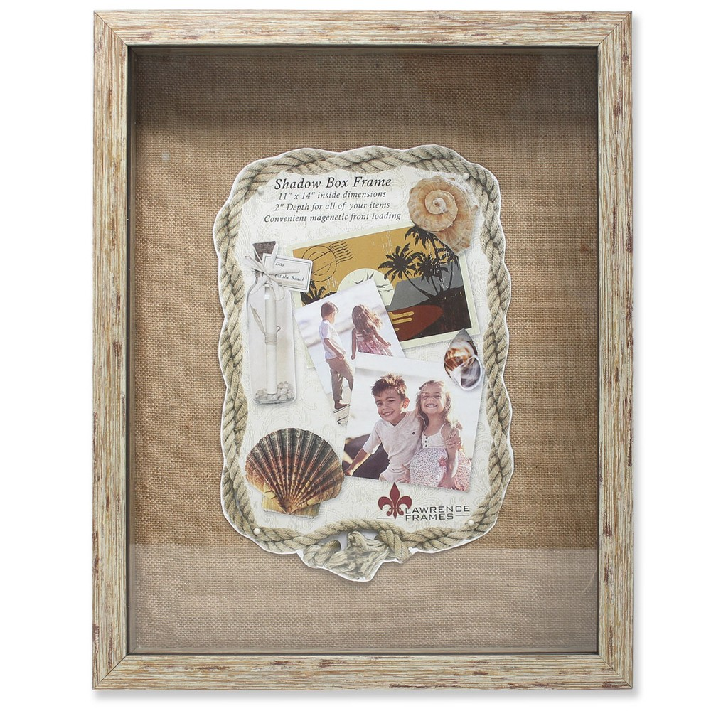 "Image of ""11""""x14"""" Burlap Display Board Front Hinged Shadow Box Frame Natural - Lawrence Frames"""