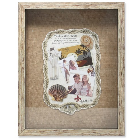 "11""x14"" Burlap Display Board Front Hinged Shadow Box Frame Natural - Lawrence Frames - image 1 of 1"