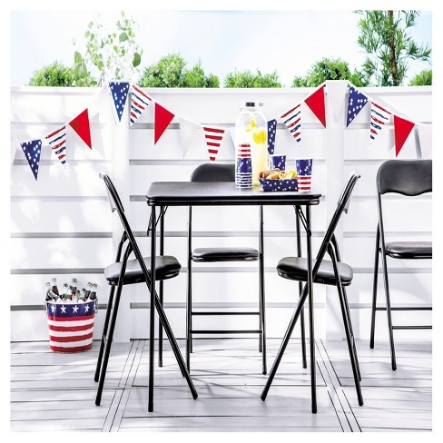 5 piece folding chair and table set black 5 Piece Folding Chair and Table Set Black   Plastic Dev Group  5 piece folding chair and table set black