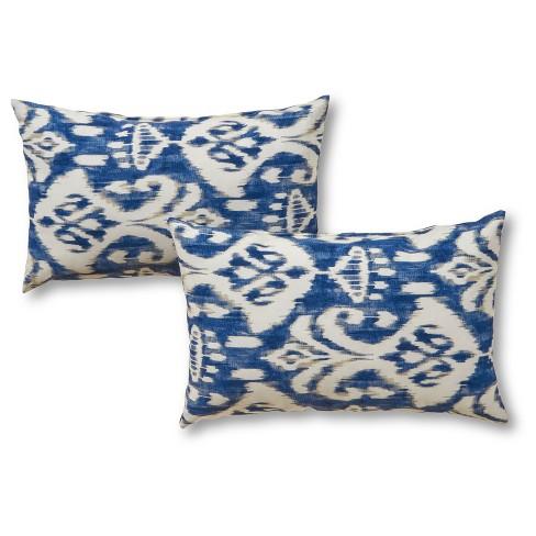 Set Of 2 Coastal Ikat Outdoor Rectangle Throw Pillows Greendale