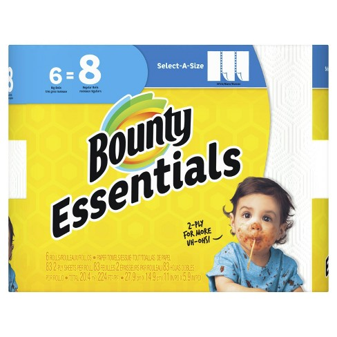 Bounty Essentials Select-A-Size White Paper Towels - 6 Big Rolls - image 1 of 4