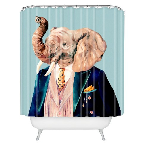 Mr Elephant Shower Curtain Pastel Blue