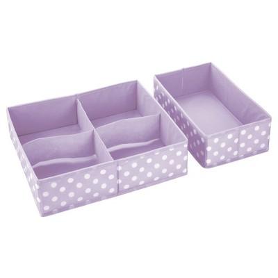 mDesign Kids Fabric Dresser Drawer Storage Organizer, 8 Piece Set - Purple/White