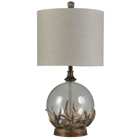Mossy Oak Bronze Antler Glass Table Lamp With Taupe Hardback