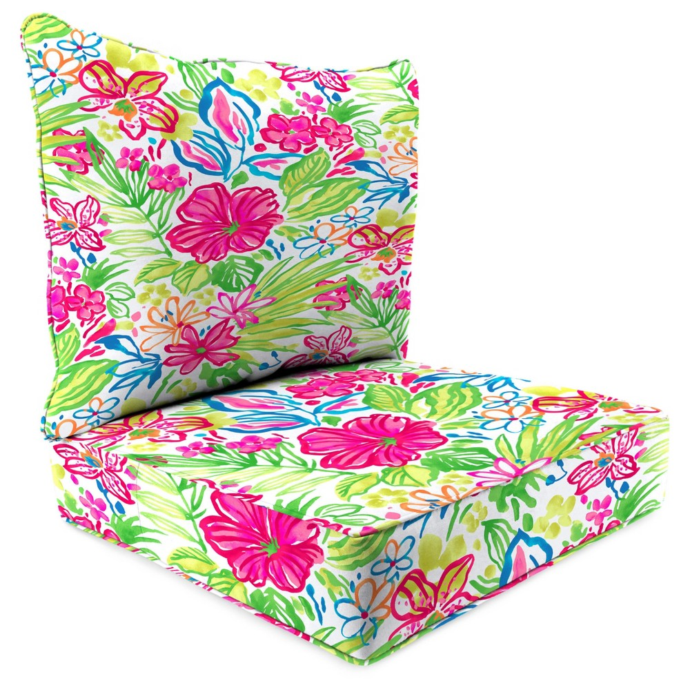 Outdoor Set Of 2PC Deep Seat Chair Cushion In Valeda Island - Jordan Manufacturing, Multi-Colored