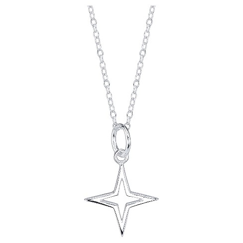 "Women's Sterling silver Open star necklace -silver (18"") - image 1 of 2"