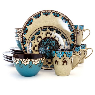 16pc Stoneware Earth and Water Dinnerware Set Blue/Taupe - Elama