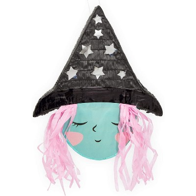 Spooky Central Small Witch Pinata for Halloween Party (15.5 x 13 x 3 Inches)