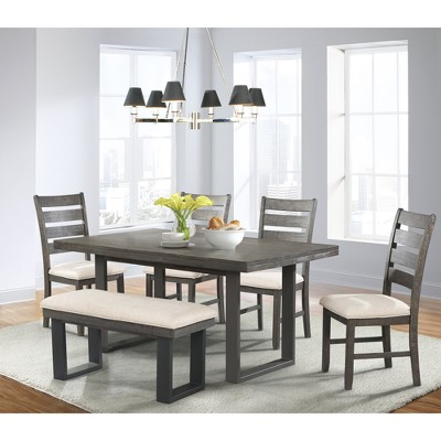 Sullivan 6pc Dining Set Table 4 Side Chairs And Bench Dark Ash