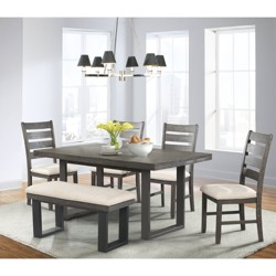 Sullivan 6pc Dining Set Table, 4 Side Chairs And Bench Dark Ash - Picket House Furnishings