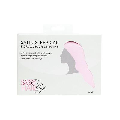 Sassy Hair Cap Long Satin Cap with Snap Clasp - Pink