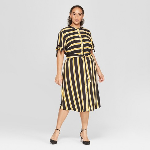 7abd75fe2f9 Women s Plus Size Striped Short Sleeve Knotted Midi Shirtdress - Who What  Wear™ Black White 4X   Target