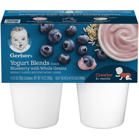 Gerber Crawler Yogurt Blends 4pk Blueberry with Whole Grains - 14oz - image 1 of 4